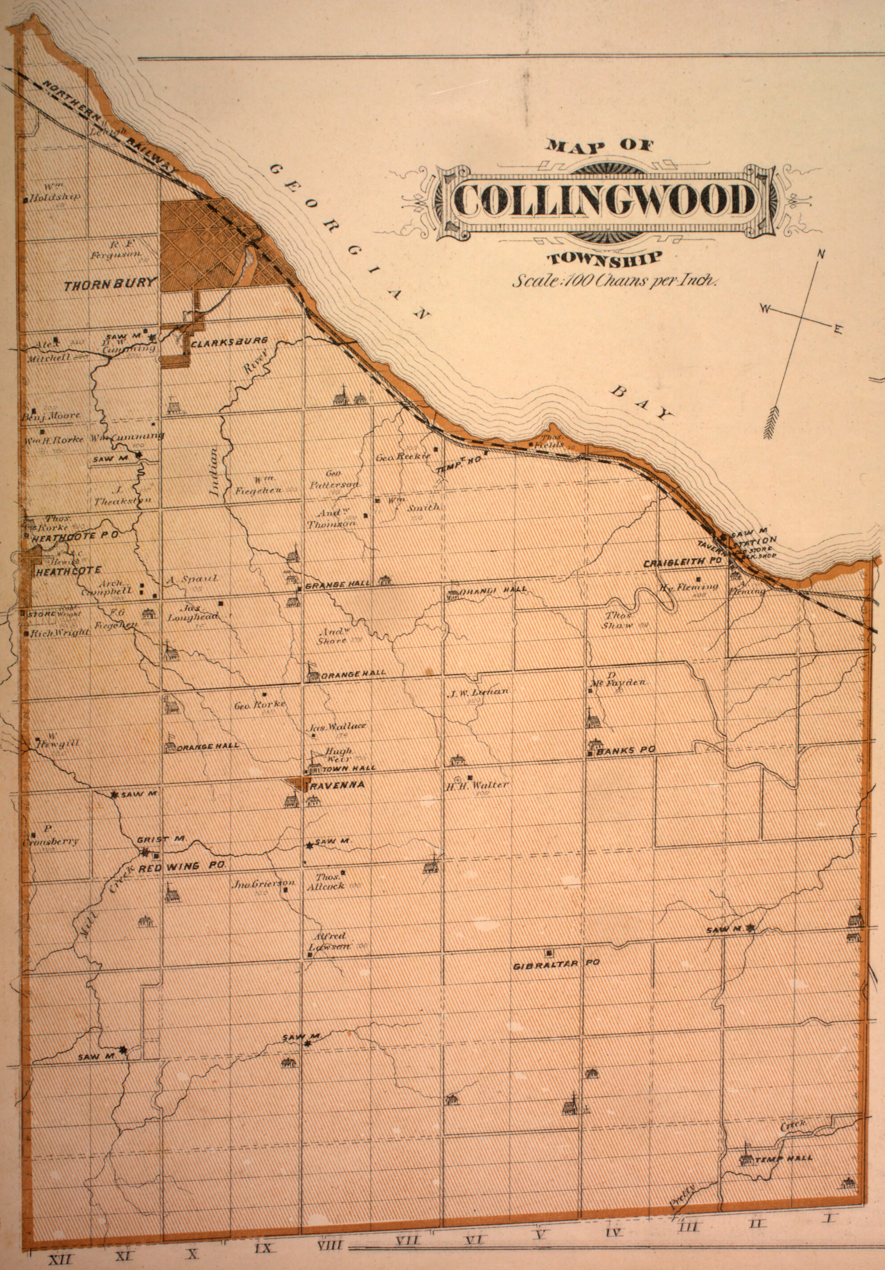 Map Of Collingwood Canadian County Atlas Digital Project Map Of Collingwood